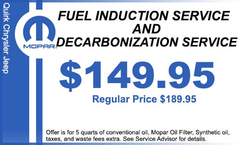 Quirk Chrycler Jeep Service Coupon | Fuel Indution Service and Decarbonization Service | Braintree, MA