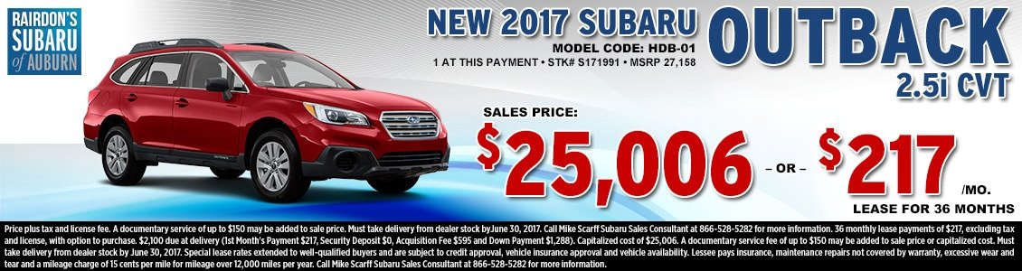 Lease or Purchase a New 2017 Subaru Outback 2.5i CVT from Rairdon's Subaru in Auburn, WA