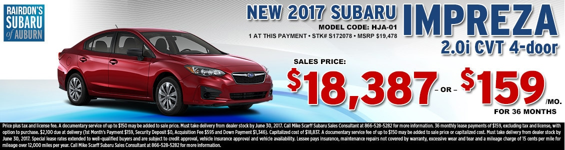 Lease or Purchase a New 2017 Subaru Impreza 2.0i sedan from Rairdon's Subaru in Auburn, WA