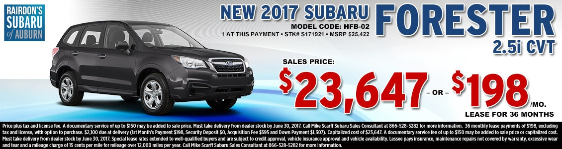 Lease or Purchase a New 2017 Subaru Forester 2.5i CVT from Rairdon's Subaru in Auburn, WA