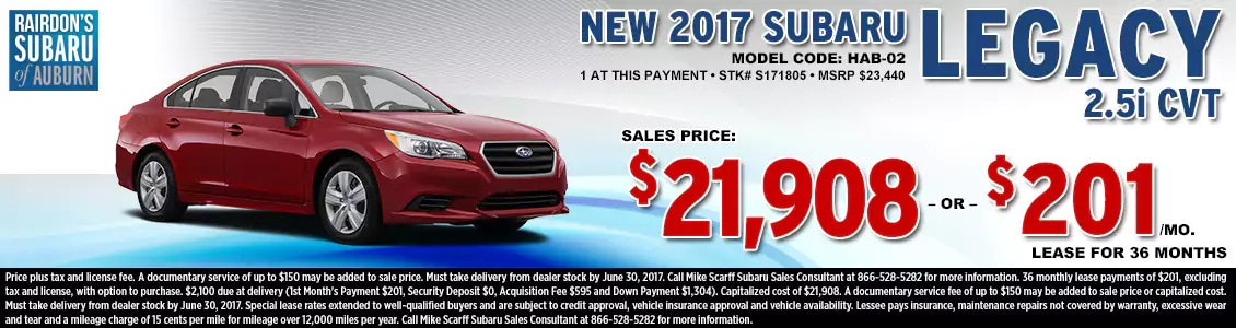 Lease or Purchase a New 2017 Subaru Legacy 2.5i CVT from Rairdon's Subaru in Auburn, WA