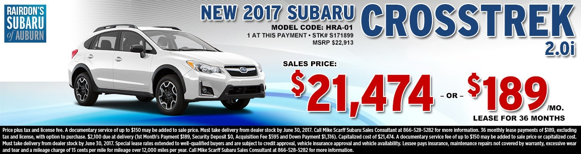 Lease or Purchase a New 2017 Subaru Crosstrek 2.0i from Rairdon's Subaru in Auburn, WA