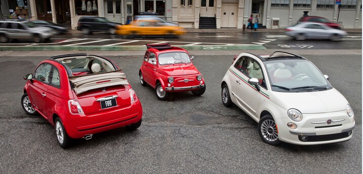 FIAT 500c cars featured in red and white exterior colors