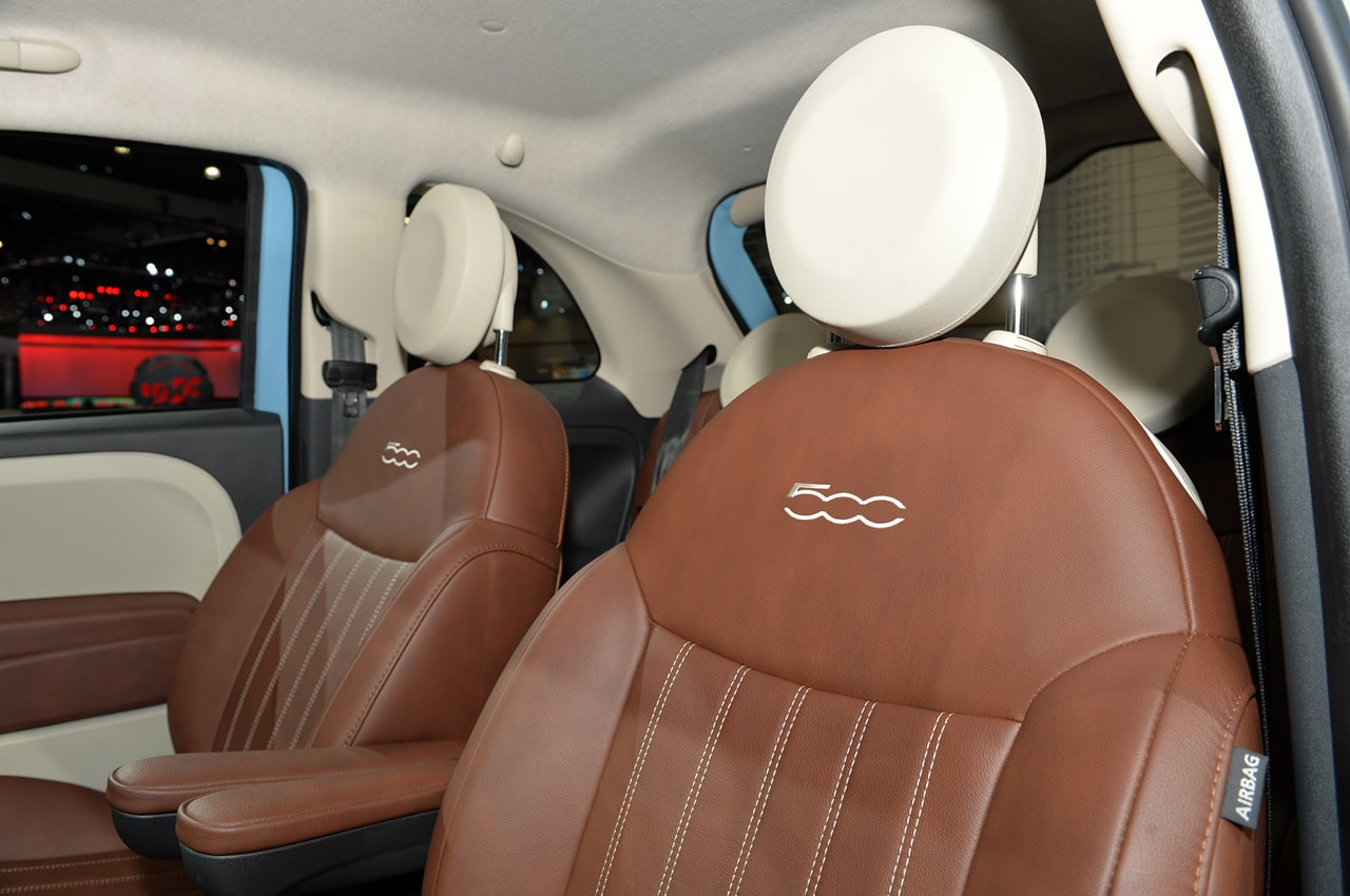 2014 fiat 500 - 1957 edition ivory and maroon leather interior