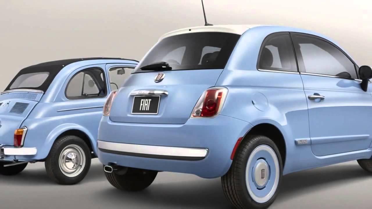 2014 fiat 500 - 1957 edition light blue rear view comparison