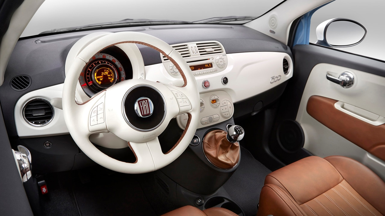 fiat 500 1957 edition ivory and maroon steering wheel