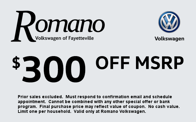 Romano VW $300 Off MSRP Coupon
