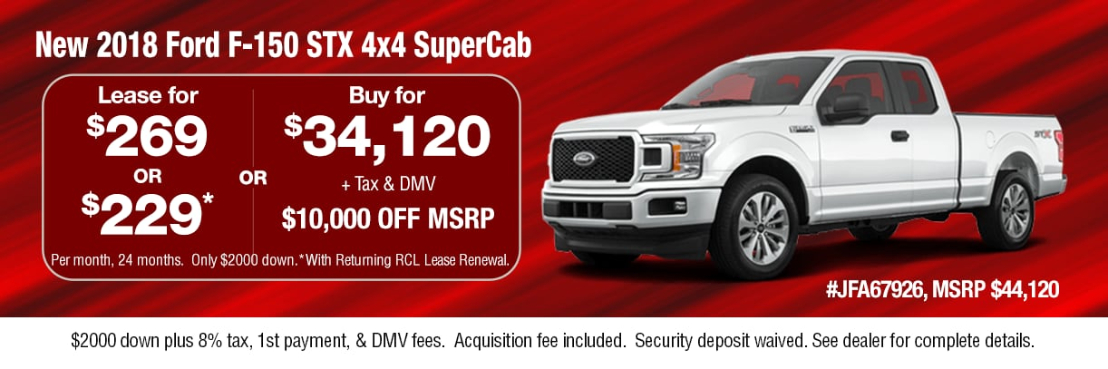 $10,000 Off MSRP or Lease a New 2018 Ford F-150 STX 4x4 SuperCab Truck