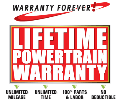 Warranty Forever Lifetime Powertrain Warranty at Royal Automotive Certified Pre-Owned on Speedway