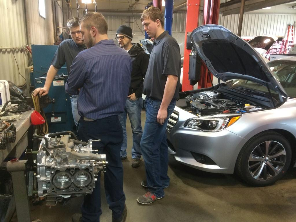 Riley Subar's Master Subaru Technician Josh Fee discusses the Subaru Boxer Engine with students