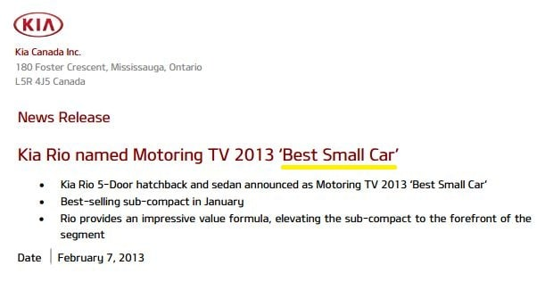 2013 Rio Best Small Car Award