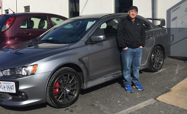 Happy Customer Pablo Navarrete with his new 2015 Mitsubishi Lancer Evolution final edition, sold by Dawn DeChristopher.