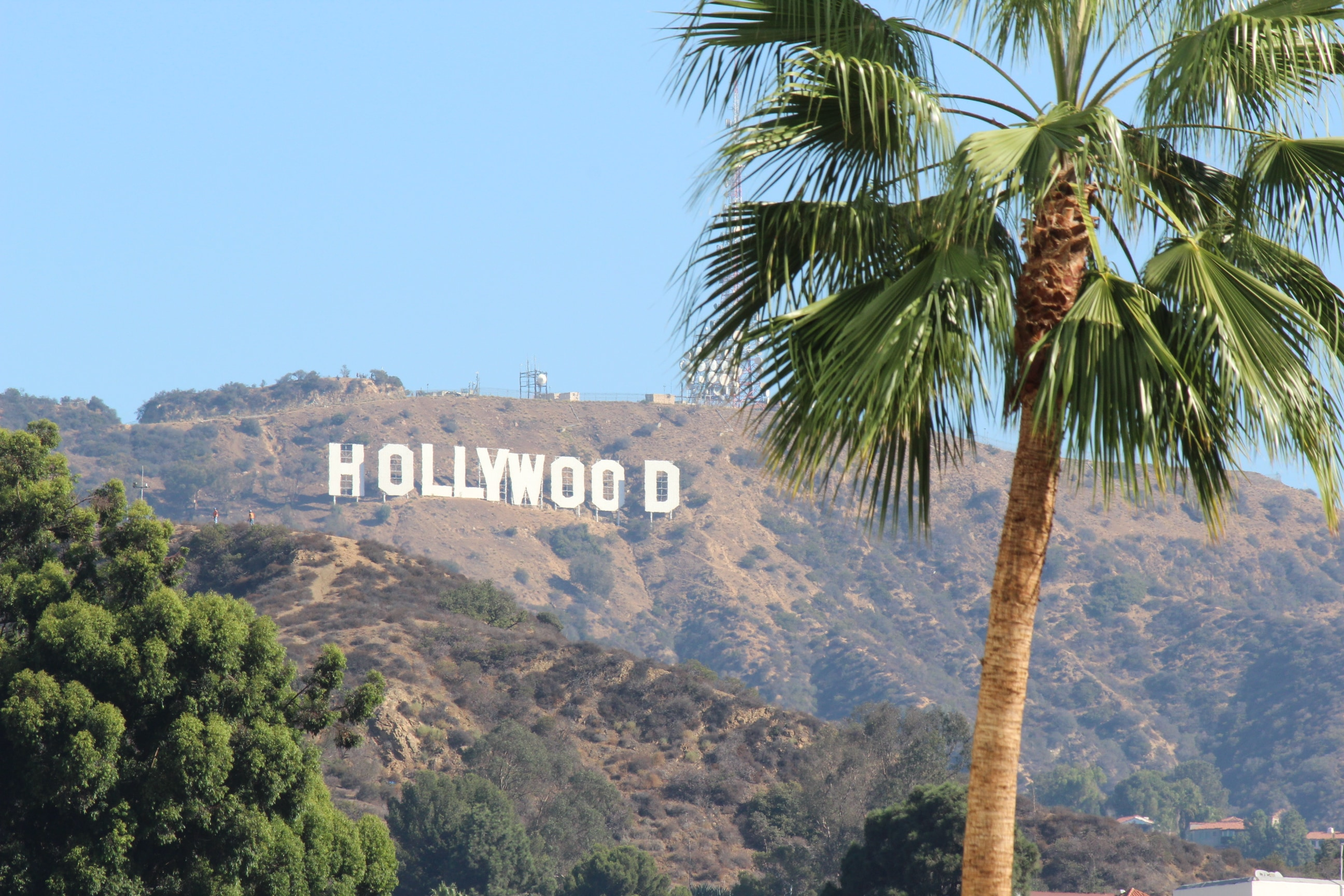 View of Hollywood sign from across