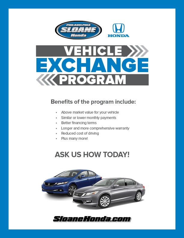 vehicle exchange program sloane honda