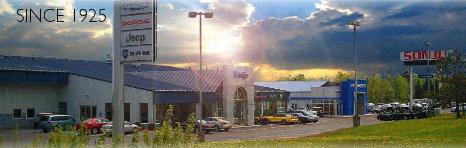 Chrysler, Dodge, Jeep & Ram dealership with sunset in Duluth area