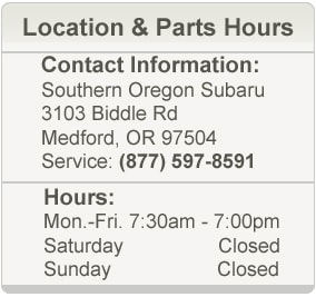 Southern Oregon Subaru Parts Location & Hours