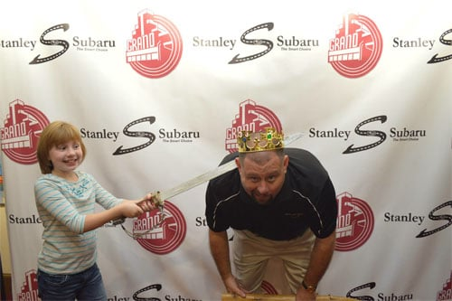 At the opening of Spamalot at The Grand, Robbie 'beheads' her dad, the king