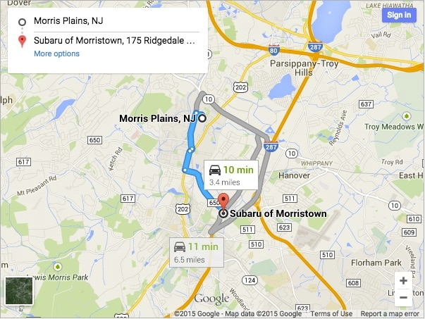 Directions to Subaru of Morristown from Morris Plains NJ