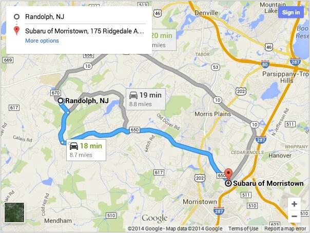 Subaru dealership near Randolph directions