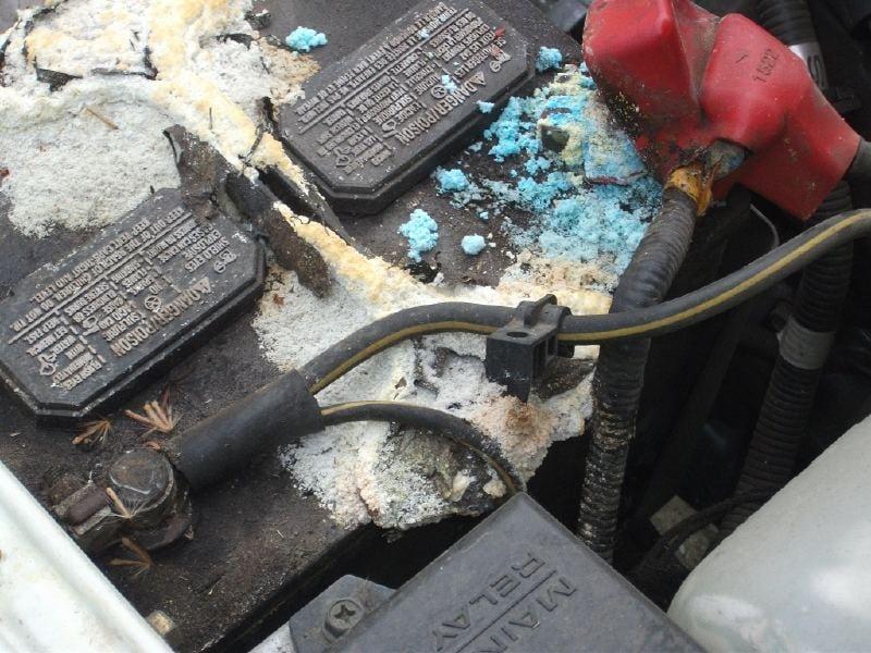 Battery acid build up on car battery x55d23c