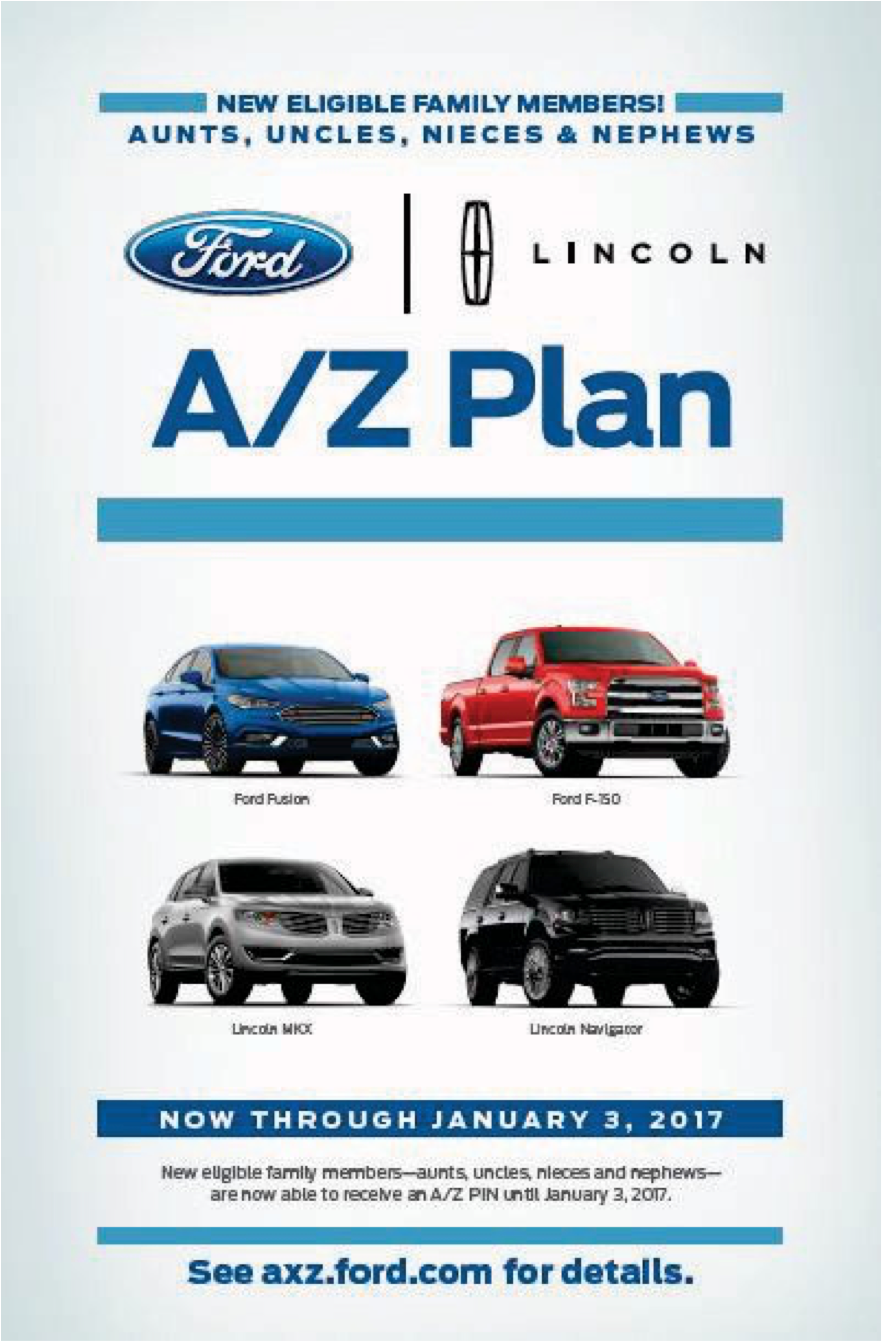 Ford aunt uncle employee pricing program suburban ford for Ford motor company employee discount