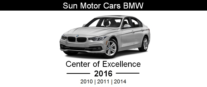 2016 bmw center of excellence award recipient sun motor for Sun motor cars bmw