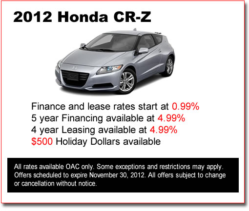 New 2012 Honda CR-Z's for Sale