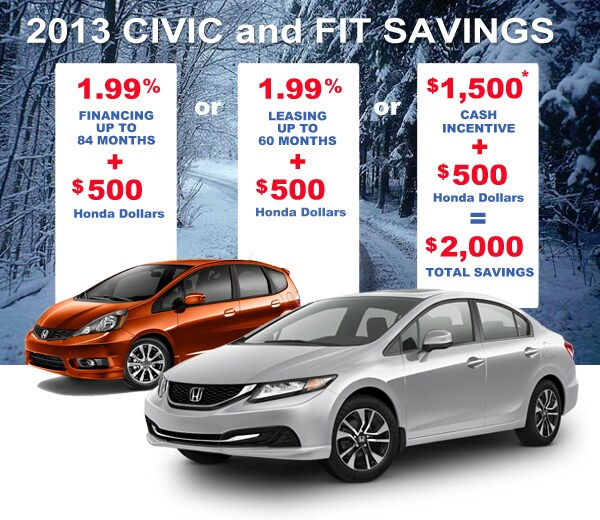 New 2013 Honda Fits and Civics for Sale