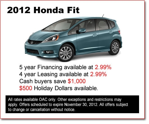 New 2012  Honda Fits for Sale