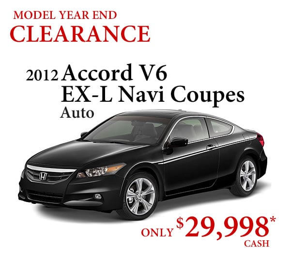 2012 Honda Accord Coupe Clearance