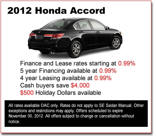 New 2012 Honda Accords for Sale