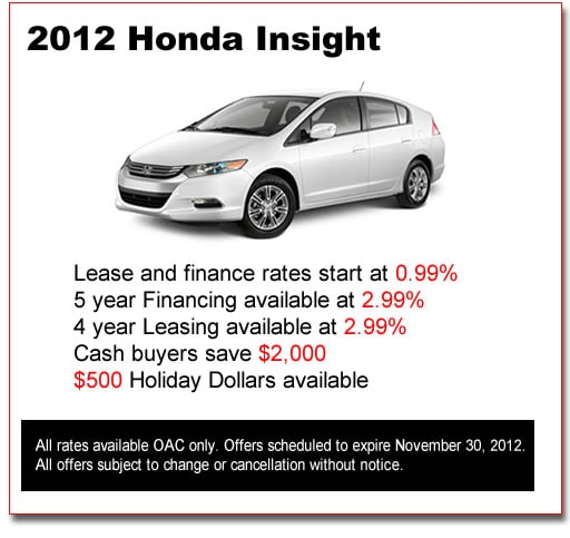 New 2012 Honda Insights for Sale