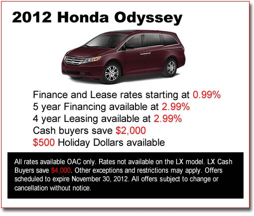 New 2012 Honda Odysseys for Sale