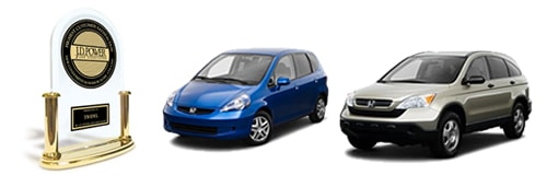 2008 Honda Fit and CRV receive JD Power's top dependability award.
