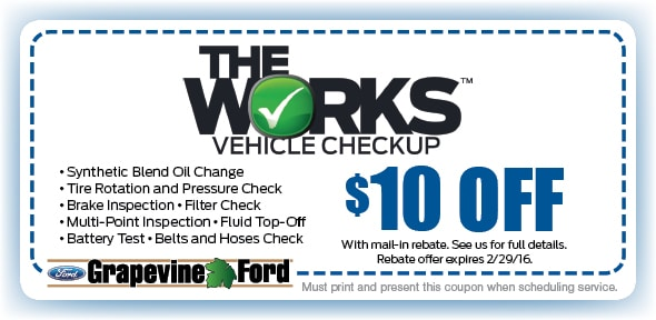 The Works Grapevine Ford Service Coupon Dallas Fort Worth Tx