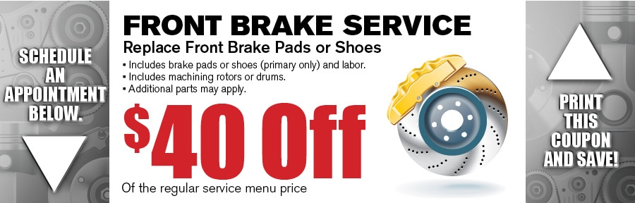 Money Saving Auto Service Coupon from Texas Toyota of Grapevine TX for Brake Pad Service