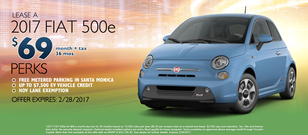 2017 FIAT 500e for $69 a month plus tax for 36 months based on 10,000 miles per year