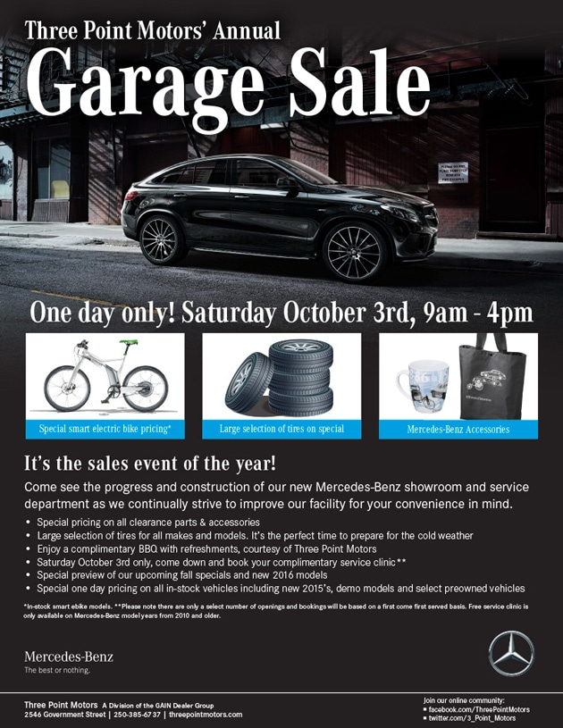 Three Point Motors' Annual Garage Sale - Oct 3rd, 2015 9-4