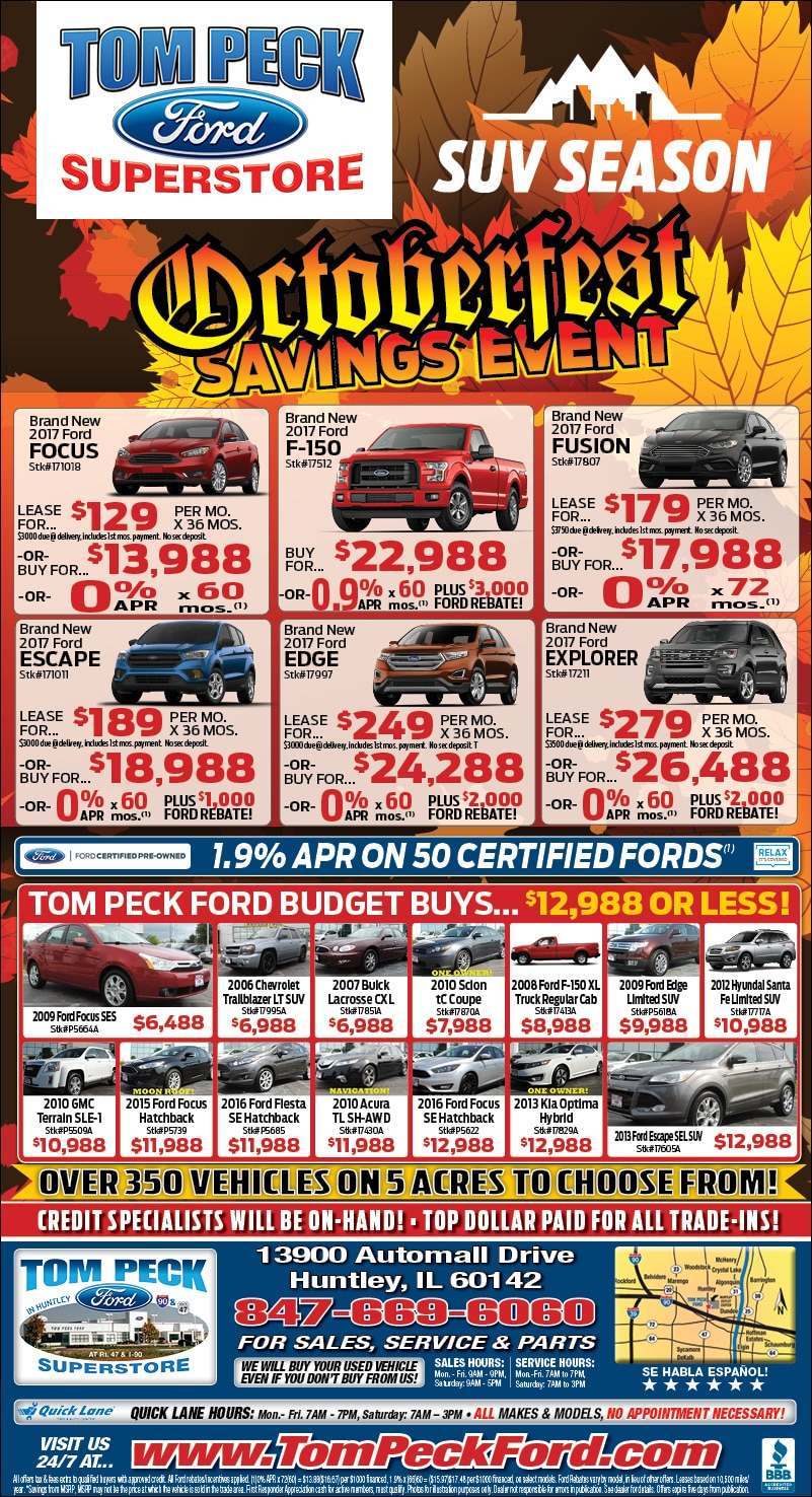 Tom Peck Ford October Monthly Ad Deals