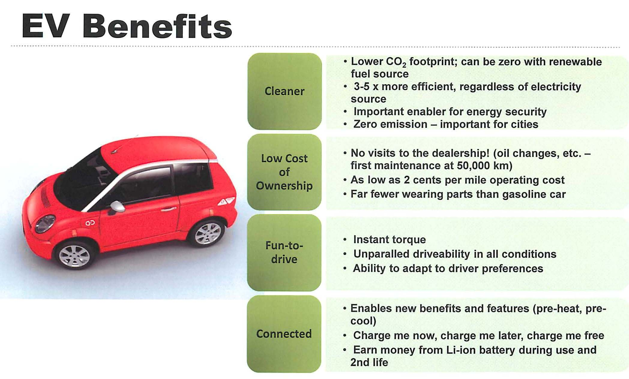 benefits of electric vehicles 2 essay Introduction: the electric car or e-car is a vehicle propelled by an electric motor   although, the benefits of using the e-car could exceed expectations it also.