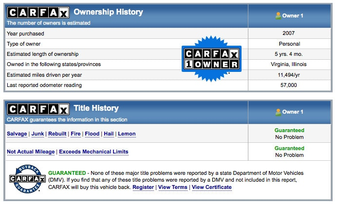 used car history report