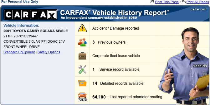 How to read a Used Car History Report
