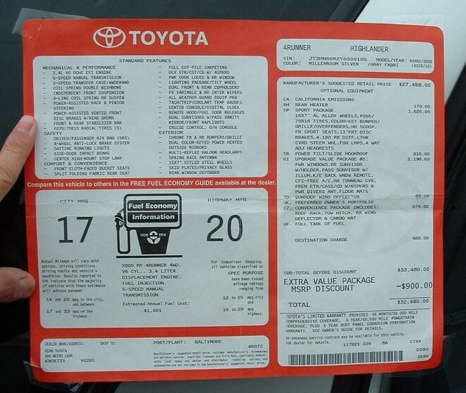 new Toyota window sticker