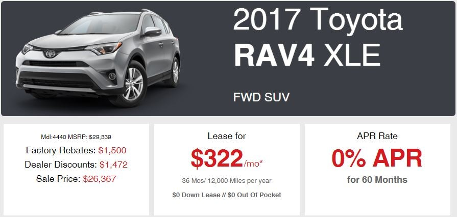 New 2017 Rav4 Sale Offer