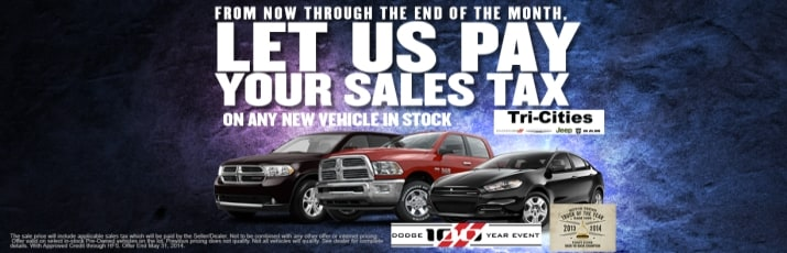 No sales tax on new certified or used chrysler car or for Tri city motor sales