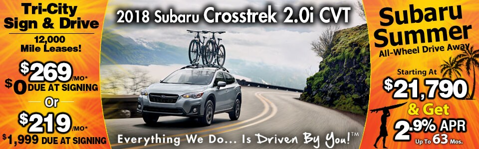 2018 Subaru Crosstrek 2.0i CVT Lease Special at Tri-City Subaru