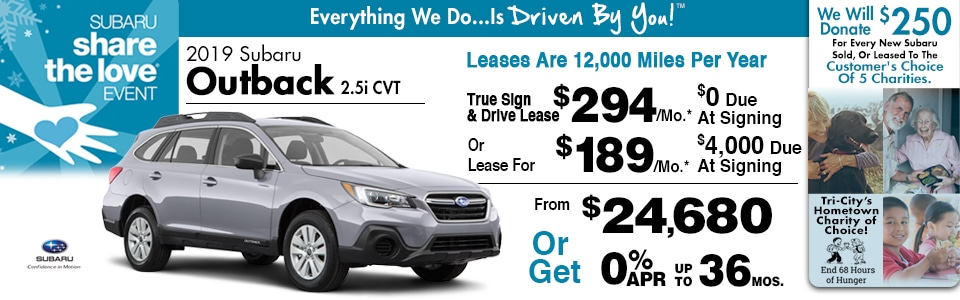 2019 Subaru Outback 2.5i CVT Lease Special at Tri-City Subaru