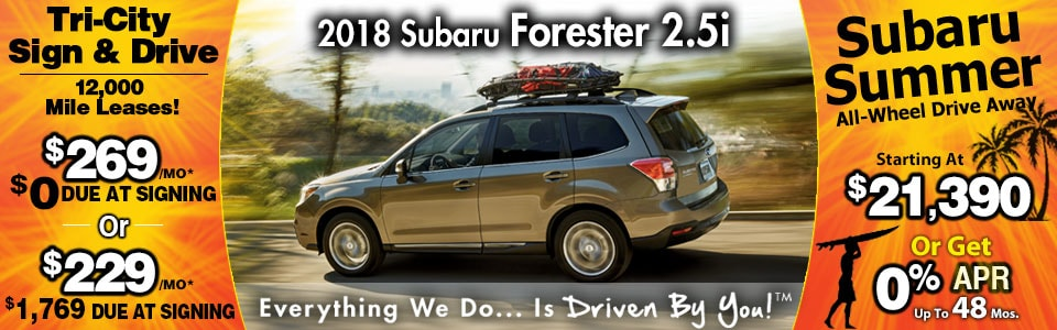 2018 Subaru Forester 2.5i Lease Special at Tri-City Subaru