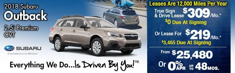 2018 Subaru Outback 2.5i Premium CVT Lease Special at Tri-City Subaru