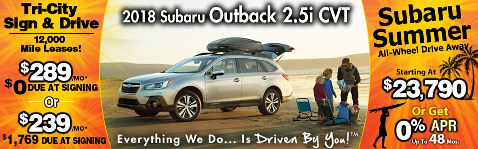 2018 Subaru Outback 2.5i CVT Lease Special at Tri-City Subaru